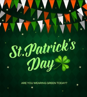 St. patrick day cartoon poster with lettering and shamrock. red, green and white flags garland decoration on checkered background. saint patricks card, traditional irish festival, celtic party