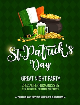 St. patrick day cartoon poster with top hat