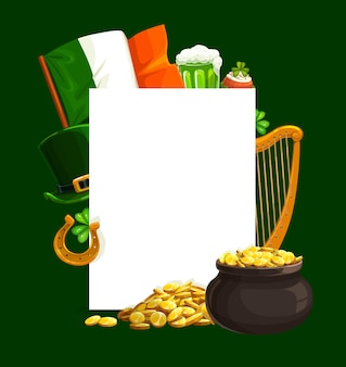 St. patrick day cartoon with blank sheet, pot with golden coins