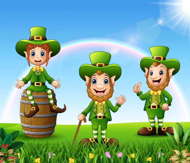 St patrick day celebration in the nature and rainbow background