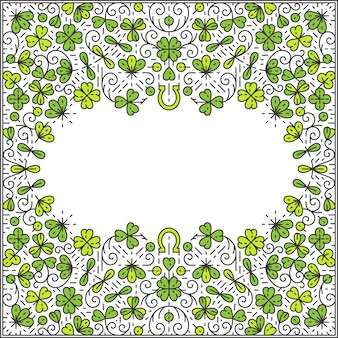 St patrick day frame, ornamental line background, monoline style.