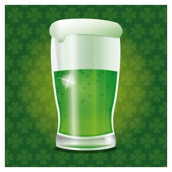 St patrick day green cold glass beer