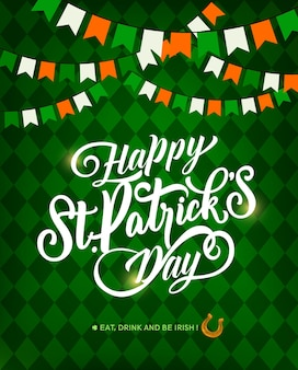 St. patrick day holiday greeting card, lettering and horseshoe