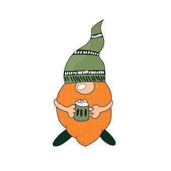 День святого патрика - ирландский гном с зеленым пивом. мультфильм вектор лепрекон цветная иллюстрация для открыток, декор, дизайн рубашки, приглашение в паб.