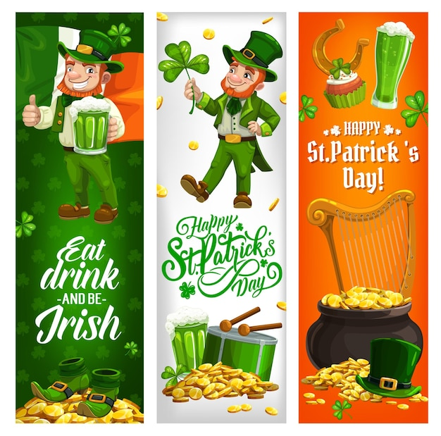St patrick day irish holiday banners with leprechaun and ireland flag