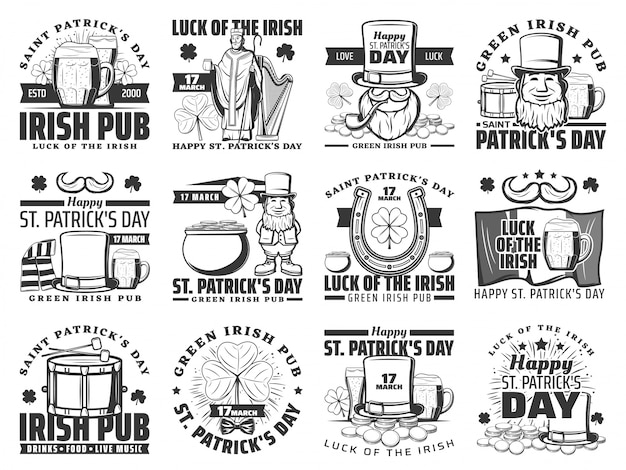 St patrick day irish holiday logo set