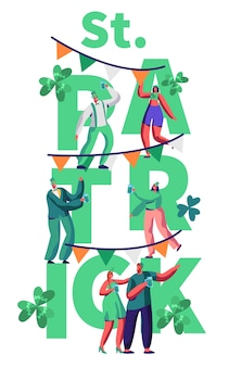 St patrick day people character celebrate typography banner. happy man in green costume drink beer have fun at irish festival. traditional ireland carnival poster flat cartoon vector illustration