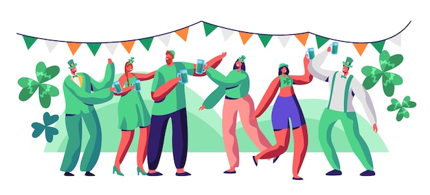 St patrick day people character drink beer celebrate. happy man character in green hat have fun at irish festival. traditional ireland carnival woman set flat cartoon vector illustration