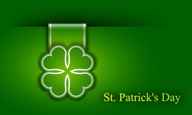 St. patrick day poster. a cloverleaf and greeting inscription in green colors.