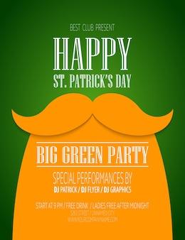 口ひげと帽子の聖パトリックの日のポスター