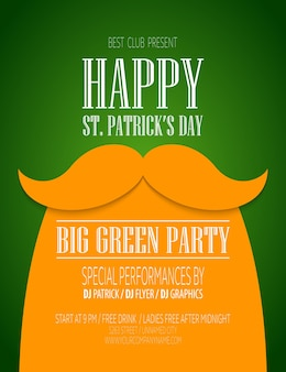 St. patrick day poster with a mustache and hat