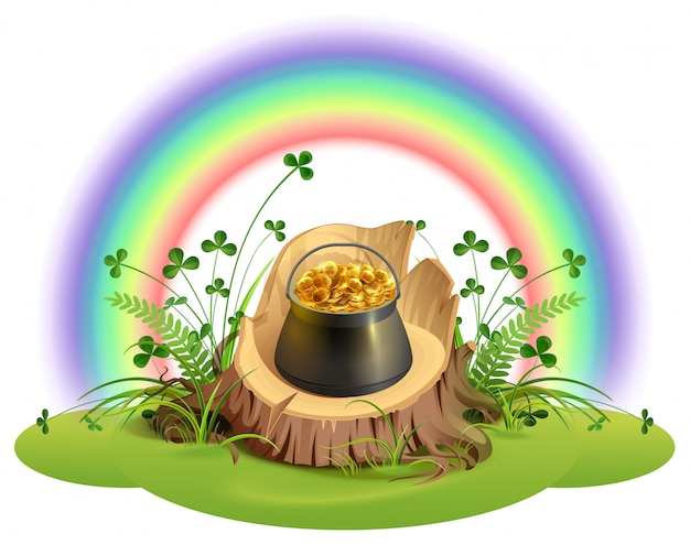 St. patrick day. pot of gold coins on stump under rainbow