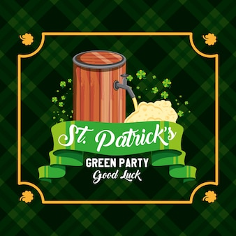 St patrick day with barrel beer and ribbon