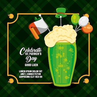 St patrick day with beer glass