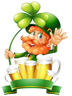 St patrick day with leprechaun and fresh beer