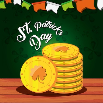 St patrick day with stack coins