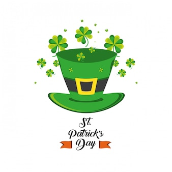 St patrick day with top hat and clovers