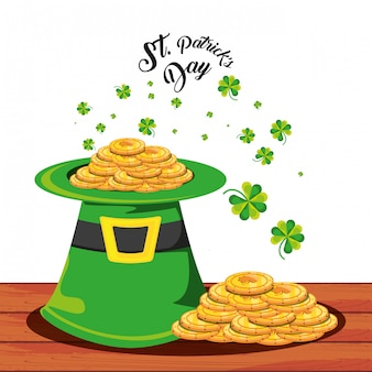St patrick day with top hat and coins