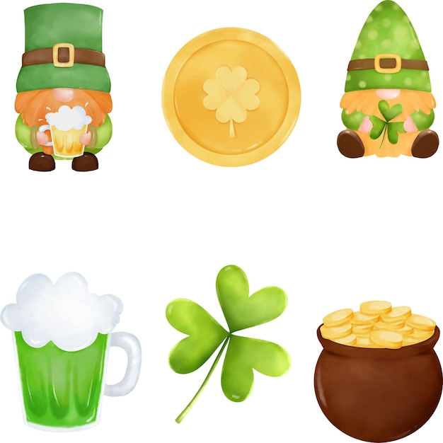 St. patrick element collection with cute cartoon gnome, shamrock, beer, pot of gold, coin