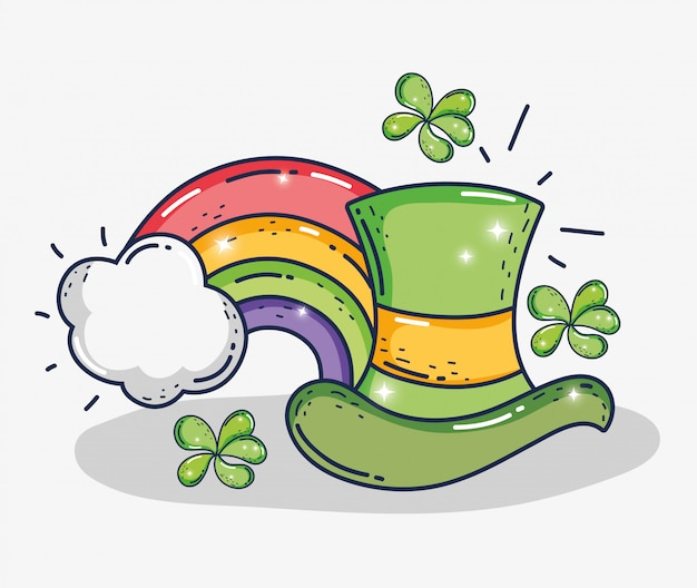 St patrick hat with rainbow and clovers