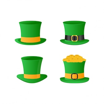 St patrick hats set vector