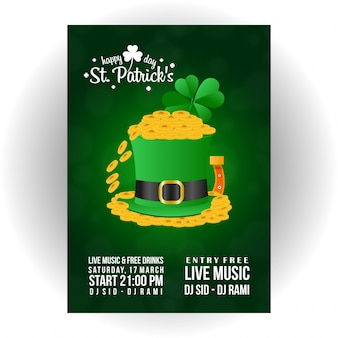 St patrick invitation card with green background