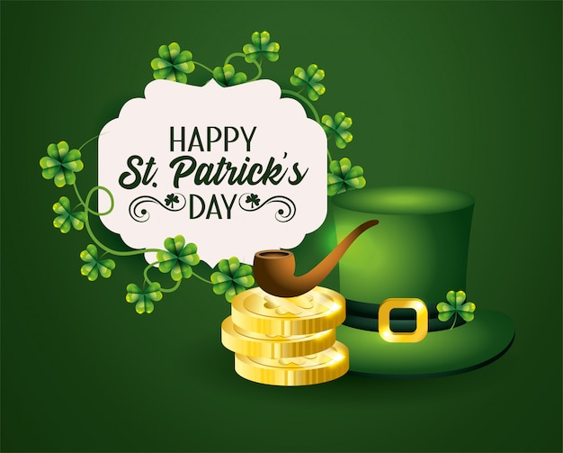 St patrick label with hat and gold coins with pipe