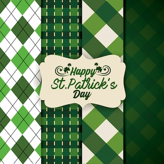 St patrick label with texture figures background