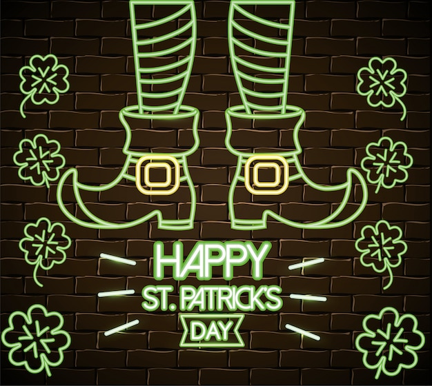 St patrick legs with boots and clovers neon label