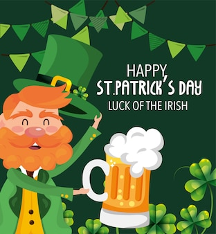 St patrick man with clovers plants and beer glass