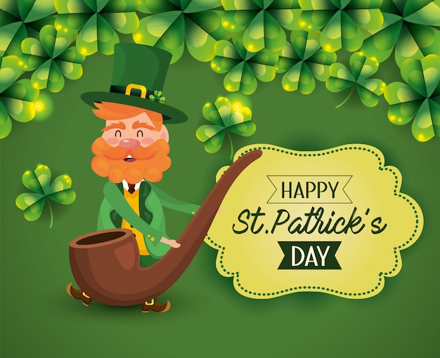 St patrick man with pipe and label decoration