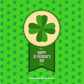 St patrick's day background with decorative badge and clovers