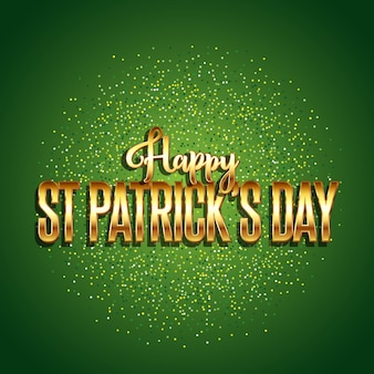 St patrick's day background with gold text