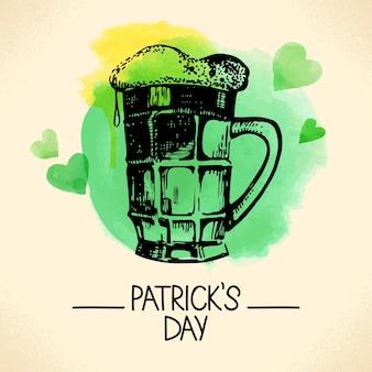 손으로 그린 스케치와 수채화 삽화가 있는 성 패트릭의 날 배경