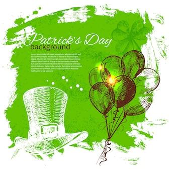 손으로 그린 스케치 삽화가 있는 성 패트릭의 날 배경