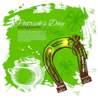 День святого патрика фон с рисованной иллюстрации эскиз