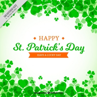 St patrick's day background with realistic clovers