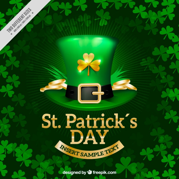 St patrick's day background with realistic hat and clovers