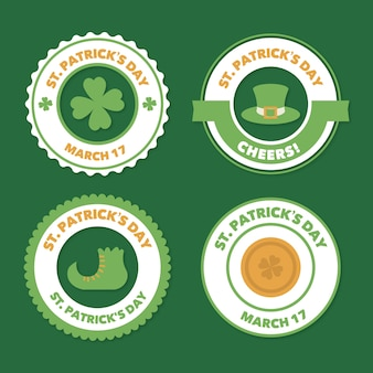 St. patrick's day badge collection in flat design