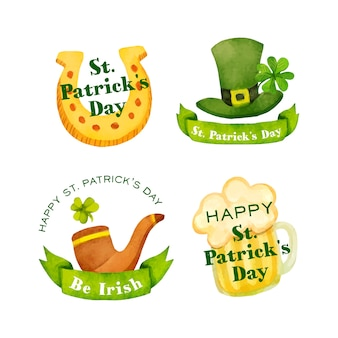 St. patrick's day badge collection in watercolor