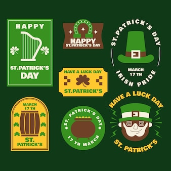 St. patrick's day badge in flat design
