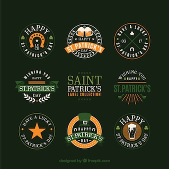 St. patrick's day badge / label collection