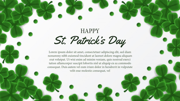 St patrick's day banner template with clover leaves