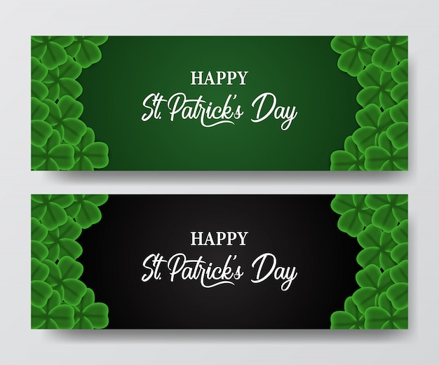 St. patrick's day banner with clover leaf