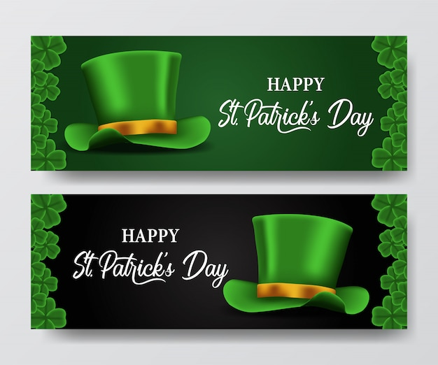 St. patrick's day banner with hat
