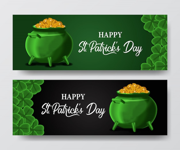 St. patrick's day banner with pot and gold coin