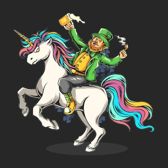 St. patrick's day bearded man sitting on a unicorn