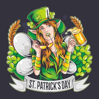St. patrick's day the beautiful fairy brings a beer.