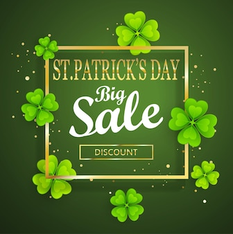 St.patrick's day big sale background, poster template.green abstract background with clovers leaves ornaments.march 17.vector illustration.