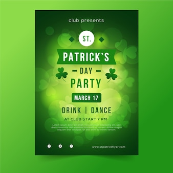 St. patrick's day blurred green poster with clovers